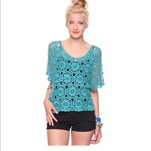 forever 21 emerald crochet top size S